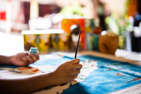 Artist painting at Thimble
