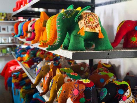 Thimble's elephant soft toys on a shelf